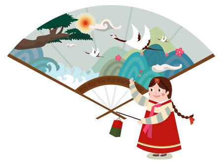 Korean paintings is drawn on the fan