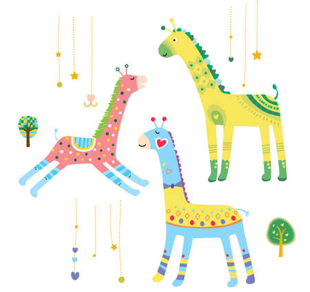 Close-up of giraffes Illustration