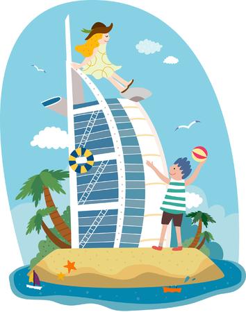 Attractions of Dubai Illustration