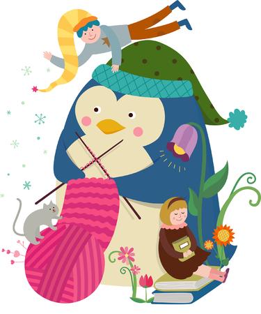 Knitting Penguin Illustration