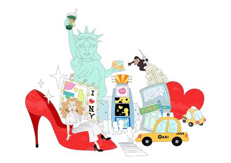 Attractions of New York Illustration