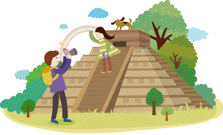 Attractions of Machu Picchu Illustration