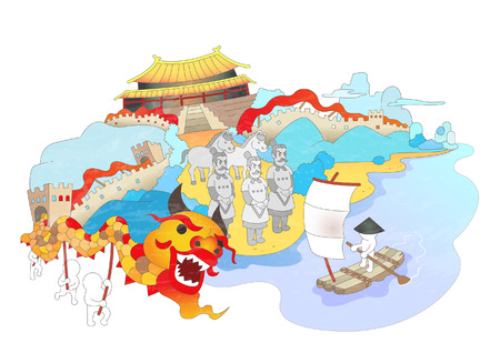 Attractions of China Illustration