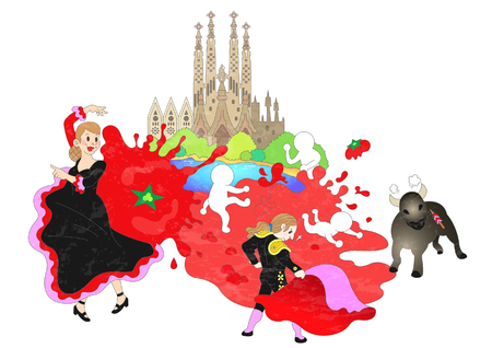 Attractions of Spain Illustration