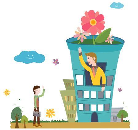 flowerpots: The man waving hand Illustration