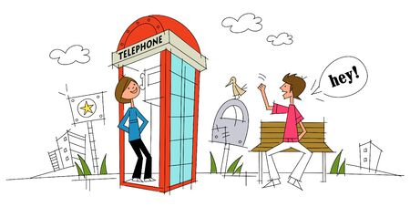 Woman standing in a telephone booth and a man greeting her