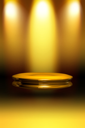 3d golden stage with spotlight Stock Photo