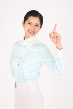 hon: Asian flight attendants - isolated on white Stock Photo