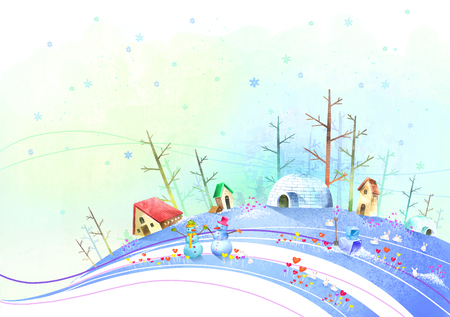Winter climate with snowman and igloo Banco de Imagens - 79735483