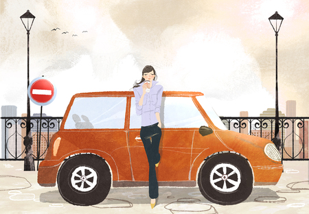 Young woman standing in front of car drinking takeaway coffee Stock Photo