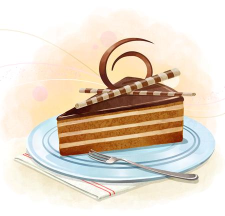 illustrating: Illustration of desserts - chocolate cake