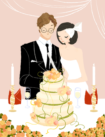 Couple cutting their wedding cake Imagens