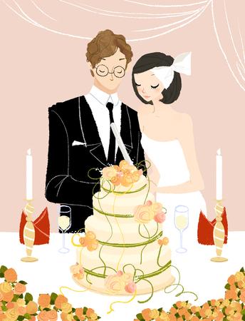 Pareja, corte, su, boda, pastel Foto de archivo - 79854885