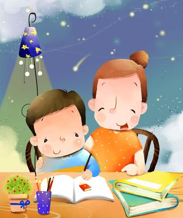 niño parado: Madre, ayuda, niño, escritura