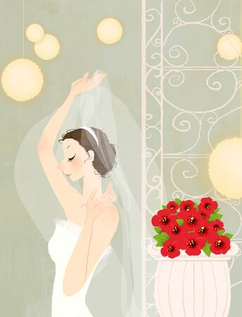 covering eyes: Side view of bride