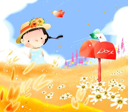 Portrait of girl in farm with letter box