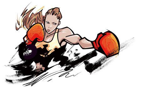 female likeness: Woman wearing boxing glove