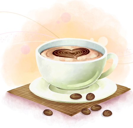 coffee beans: Illustration of drniks, beverages - coffee