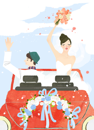 Just married couple on drive
