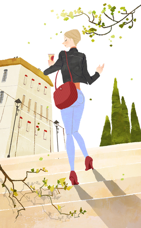 Young woman stepping toward the building holding the cold drink Banco de Imagens - 79747051