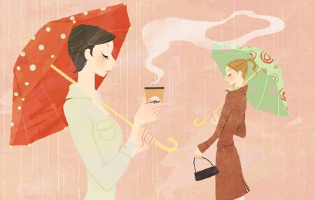 Portrait of young woman in the rain holding umbrella and a takeaway coffee Stock Photo