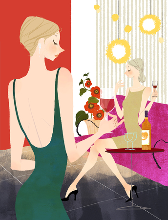 Two Woman drinking wine