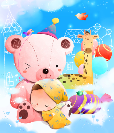 Child sleeping on teddy bear Stock Photo