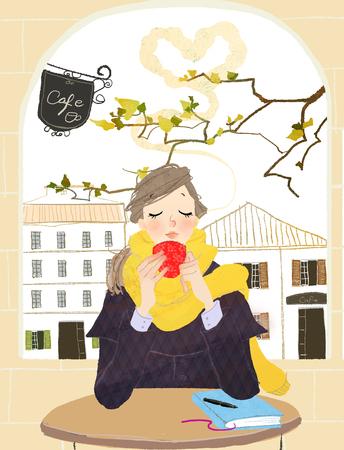 Close-up van vrouw die hete koffie in de winter drinkt