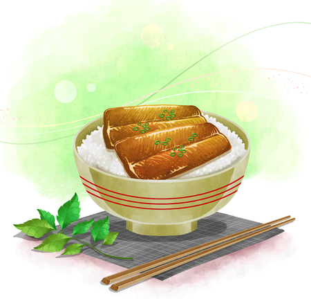 illustrating: illustration of Asian cuisine - rice with grilled eel