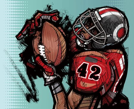 American football player holding football