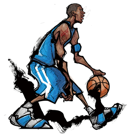 dribbling: Basketball player dribbling ball