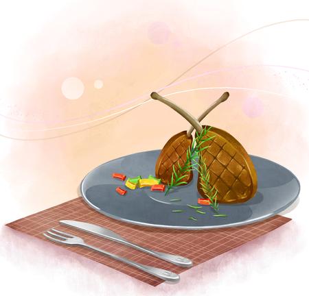 illustration of dinner plate - lamb steak Reklamní fotografie