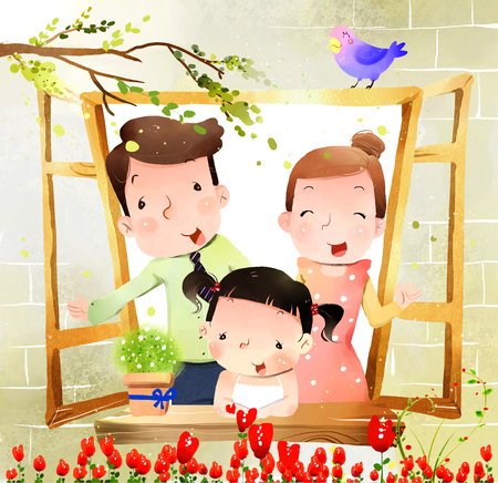 portrait of family with one child at window Imagens - 79732633
