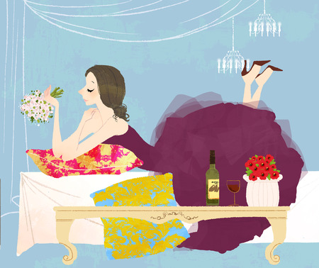 beginnings: newlywed woman laying on bed holding bouquet of flowers