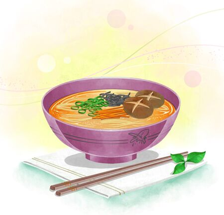 broth: illustration of Asian cuisine - noodles