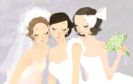beginnings: Close-up of three bride with closed eyes Stock Photo