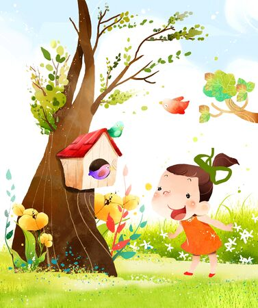 only baby girls: Girl looking at bird house Stock Photo