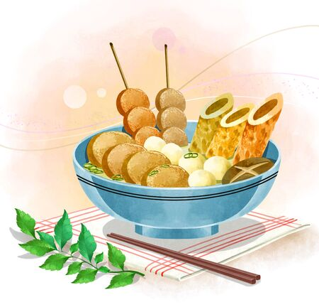 illustration of Asian cuisine - oden soup (fishcake) Stock Photo