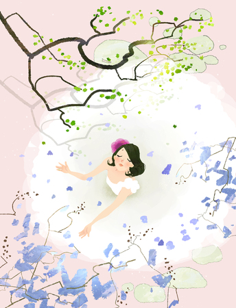 Flowers from tree are falling on bride body Banco de Imagens - 79720688