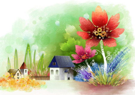 Houses with flora