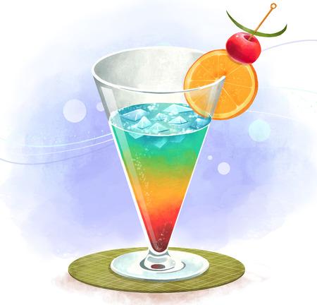 illustrating: Illustration of drniks, beverages - colorful cocktail