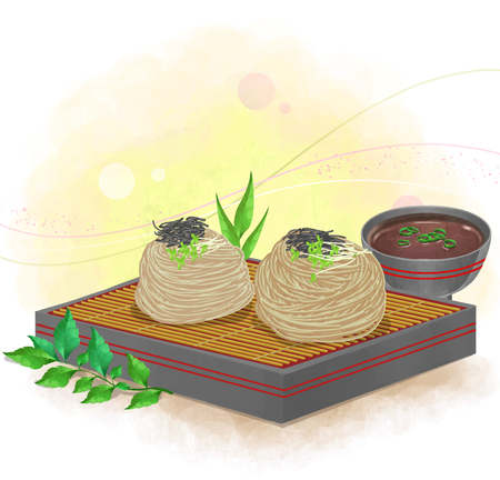 illustration of Asian cuisine - zaru soba Banco de Imagens