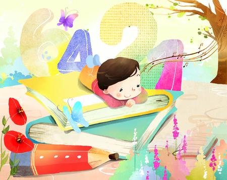 Portrait of boy laying on book Banco de Imagens - 79720630