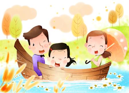 Family on boat Stock Photo