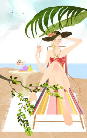 sentarse: woman sunbathing on lounge chair on beach