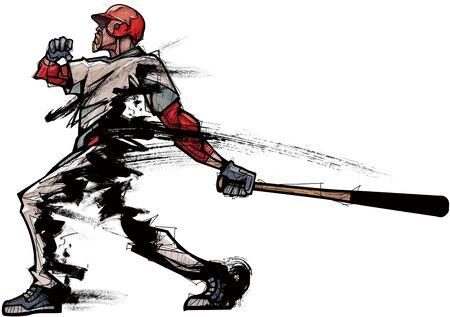 Baseball player holding bat, side view