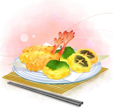 fried shrimp: illustration of Asian cuisine - tempura