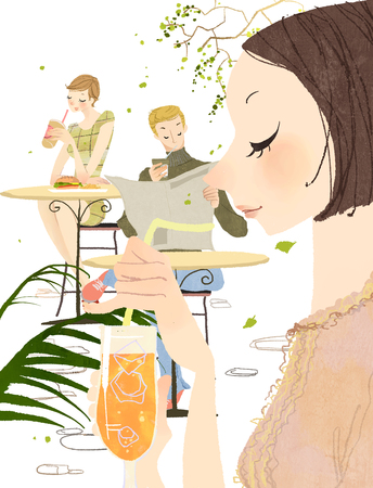 Side view of Young Woman Holding Glass of juice and people in the background