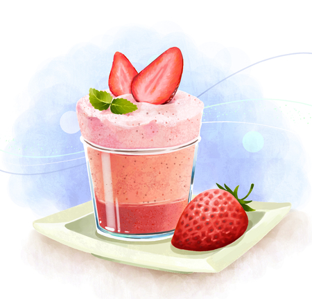 Illustration of desserts - Strawberry mousse cake Stock Photo
