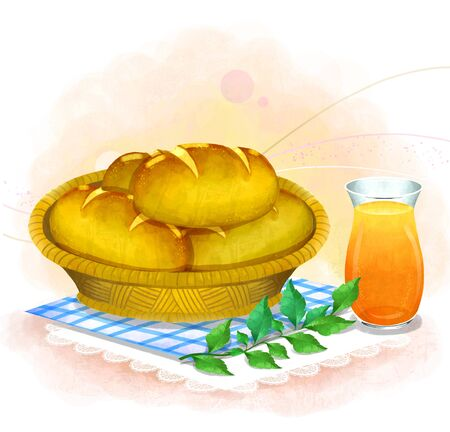 illustrating: illustration of bread and pastries - bread in a basket Stock Photo